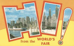 Lower Manhattan Skyline and East River - New York World's Fair 1964-65 (The Cardboard America Archives) Tags: bigletter greetings newyork worldsfair 1964 1965 vintage postcard