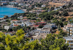 View down into Pefkos and the main village Road (Rhodes - Greece (Olympus OMD EM5 & Panasonic G 35-100mm f2.8 Zoom) (1 of 1) (markdbaynham) Tags: rhodes rhodos dodecanese greece greek hellas hellenic grecia greka pefkos olympus omd em5 csc mirrorless evil mft m43 micro43 m43rd panasonic g lumix 35100mm f28 zoom