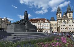 Prague (acase1968) Tags: square medieval czech republic flowers clouds blue sky praha nikon d500 oldtownsquare statue churchofourladybeforetn janhusmemorial tokina 1120mm f28