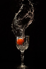 Crystal splash (vilomaki) Tags: water splash crystal glass black red macro drops food canonef100mmf28lmacroisusm canoneos70d
