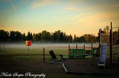 Let Your Inner Child Play (ScopiePhotography) Tags: playground fog park early sunrise alberta calgary slide trees grass spooky