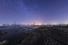 Starry Sky on the Southwest Shore of the Salton Sea (slworking2) Tags: saltoncity california unitedstates us saltonsea beach shore water lake desert night stars sky