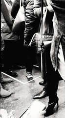 AM rush on the runway (williamw60640) Tags: chicago streetphotography publictransit elevatedtrain rushhour passengers commuters shoes blackandwhitephotography travelers cityscenes urban urbanlife boots style chic uggs smartphone