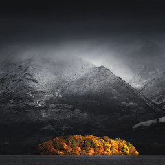 Looming over the Light (Vemsteroo) Tags: 50140mm autumn borrowdale cumbria derwentwater dramatic fujifilm lakedistrict morning mountains outdoors snow sunrise winter xt2 stark contrast colourful snowy cool cold epic derwent island skiddaw exploring visitengland visitbritain lake weather square 11