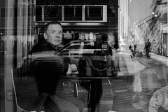 eye contact (jeff_tidwell) Tags: street streetphotography streetphoto window reflection humor candid funny blackandwhite
