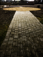 shapes (Steve Taylor (Photography)) Tags: sculpture path brown gold grey block brick dirt concrete newzealand nz southisland canterbury christchurch cbd city wet cloud circle