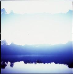 (✞bens▲n) Tags: hasselblad 500cm carl zeiss 80mm f28 film medium format velvia 100 at200 multiexposure japan lake water evening dark reflection
