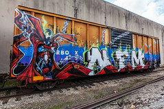 (o texano) Tags: houston texas graffiti trains freights bench benching nfm spawn