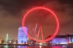 London Eye (R.K.C. Photography) Tags: londoneye ferriswheel london england longexposure canoneos100d unitedkingdom uk night red lights reflections riverthames smileonsaturday roundandround