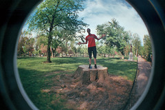 (domoreseemorebemore) Tags: film college boston commons fisheye treetrunk beantown