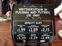OK Yah, Ales.  Like, Totally Yah Man (Bods) Tags: london pub walk thamespath wetherspoons putney therocket vauxhallbridgetoputneybridgewalk thamespathstage4