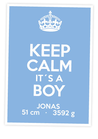 Personalisiertes Printable: Keep Calm it´s a Boy