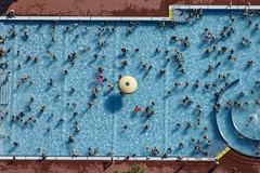 Summer, Sun & Fun (Aerial Photography) Tags: blue summer people by sommer aerial menschen leisure blau freizeit deu settlement luftbild in luftaufnahme ingolstadt schwimmbad obb hitze freibad bayernbavaria deutschlandgermany schwimmbecken badegste jahnstrase fotoklausleidorfwwwleidorfde 27072013 5d355995