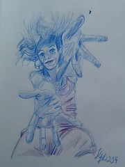 Self-portrait / Day 294 (Karine.Dh) Tags: pink blue red selfportrait art pencil drawing crayon