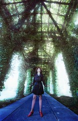 Glowy Garden Tunnel (Japhy Riddle) Tags: red plants film girl gold nikon shoes angle kodak wide ivy 200 ultrawide 15mm