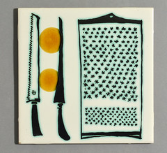 Kitchen tile by Ann Wynn Reeves (robmcrorie) Tags: kitchen wall cheese modern tile ceramic bathroom design knife pot 1950s clark ann pottery british wax 1960s 1970s wynn grater mid kenneth lewes resist reeves mcm centry