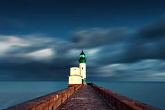 First light ( David.Keochkerian ) Tags: longexposure light sea sky lighthouse seascape david france color sunrise trport keochkerian