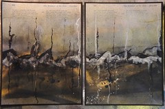Dark Horizons series - Abstract Landscapes (Los Dave) Tags: urban abstract weather clouds rural ink painting landscape acrylic industrial skies cloudy recycled hills land fields spraypaint discontent horizons lacquer bookpages darkhorizons