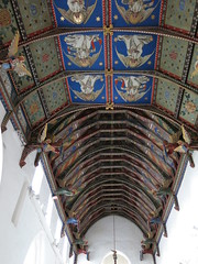 The chancel (foreground) and nave ceilings, painted by the Rector's wife, Mrs. Mildred Holland, between 1859 and 1866 -- The Church of St Mary, Huntingfield, Suffolk, England (Hunky Punk) Tags: uk england saint st architecture suffolk folkart reverend painted mary gothic victorian churches medieval roofs angels middleages ceilings eastanglia rector huntingfield hunkypunk mildredholland williamholland spencermeans