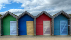 Beach Huts at Blyth (velton) Tags: uk vacation england holiday english beach canon lumix seaside 300d shed panasonic northumberland hut northumbria gb british colourful hdr fz18 fz200