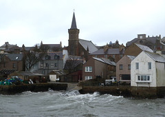 Stormy January Sunday In Stromness (orquil) Tags: uk greatbritain houses winter horses white weather islands scotland orkney waves waterfront harbour january stormy gale spray kirk stromness slips jetties historictown southerly