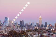 Super-moonwalk (itz_a_weird_world) Tags: ifttt 500px new york supermoon nyc skyline empirestate moon pink hour buildings trail moonwalk city sky horizon cityscape perigee