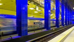 Munich - Mnchner Freiheit subway station (cnmark) Tags: germany munich deutschland mnchen ubahn subway station mnchnerfreiheit architecture train moving speed action allrightsreserved