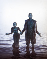 Them (Robert Cornelius Photography) Tags: girl lady woman guy man creature being creep creepy scary weird rib ribs glow glowing strange stranger water reflection dark darness eye manipulation magic magical manipulated manipulate male myth manip moody model mystical magnificent evil blue teal contrast creatures love lovers eternal them black