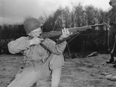 Firing captured K-98 Rifle, Narrow Water, April 1944 (G.I.N.I) Tags: narrowwater 2ndinfantryregiment 5thinfantrydivision usarmy ww2 northernireland countydown k98 mauser wehrmacht karabiner98 rifle captured