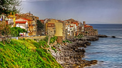 SICILE CEFALU (CLAUDE ROUGERIE) Tags: sunset beach water sky flower red nature blue tree green flowers light sun clouds landscape sea city trees news sicile cefalu