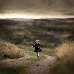 Sofie in Scotland (iwona_podlasinska) Tags: dof autumn childhood dog fall freedom girl hills red road scotland view