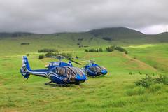 Blue Hawaiian Helicopters (milepost430media.com) Tags: helicopter bluehawaii hawaii blue field volcano tour flight aircraft rotors blades tourism wailea haleakala green grass pasture 70d dslr paradise