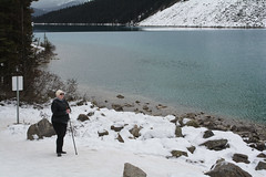 Holly at Lake Louise. (waysofseeing) Tags: hike lakelouise mountain outdoors snow victoriaglacier