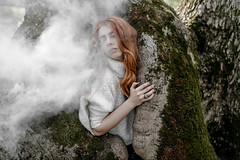Vika (evgeniy_ruban) Tags: girl green red forest great beautiful model color canon 50d 30mm sigma smoke trees