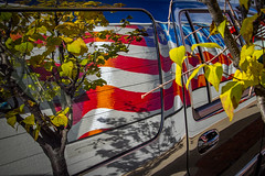 Reflections of liberty (Leaning Ladder Photography) Tags: easton pennslvania lehighvalley flag redwhiteblue streetart graffiti mural stripes stars red blue street unitedstates liberty reflection shadow vehicle car leaves autumn leaningladder canon 7d