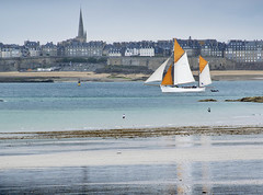 Sailing By (Carolbreeze99) Tags: dinard2016 stmalo brittany seaside yacht sailingboat boat reflection city spire church sails colour orange complementarycolour watching scape seascape landscape