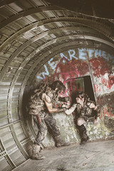 Help out (No Stone Unturned Photography) Tags: abandoned airplane airfield urbex cosplay fallout wastelands post apocalyptic couple girl plane hull