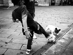 Play it again sam! (Ren Mollet) Tags: foodball dog play game italy italien fussball boy ball street streetphotography renmollet blackandwhite bw monchrom