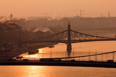 Good Morning (kareszzz) Tags: budapest morning fog smog foggy travelphotography bridges danube duna hungary canoneos60d 60d yellow silhouettes dawn december winter