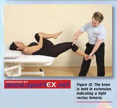 The knee is held in extension, indicating a tight rectus femoris. (sportEX journals) Tags: mets rehabilitation gluteusmaximus gmax massagetherapy gluteal sportex sportsinjury sportsmassage sportexdynamics
