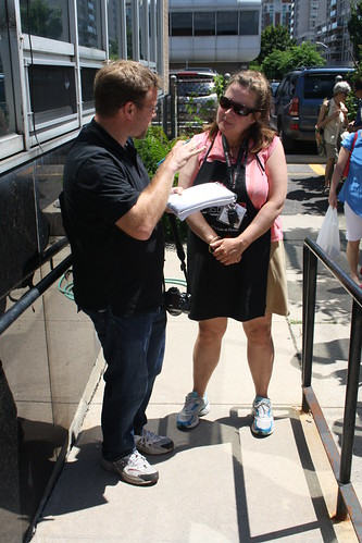 Eileen being interviewed at Farmers' Market by Toronto Community News