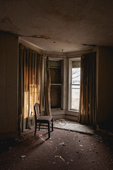 (Erin Watson/Abandoned Exploration) Tags: light shadow house abandoned home broken window beauty farmhouse rural canon dark chair midwest alone quiet photographer sad decay empty country nostalgia memory curtains fade urbanexploring urbex 2013 erinwatson erinwatsonphotography theresalwaysachair