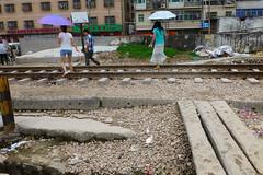 Railway Crossing Longhua Shenzhen China (dcmaster) Tags: china city urban train asia crossing path over tracks railway pedestrian level shenzhen longhua