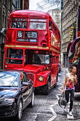 sometimes i think, that man in black spies me, London July 2013 (Smo_Q absent) Tags: trip red man bus men london girl slim londres routemaster londra  londyn    pentaxk5