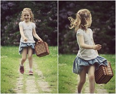 Hey, little Lady. (Emmy Ze) Tags: flowers cute green forest germany photography nice holidays day photoshoot little sister small hannah young skirt case blond