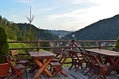 Terrace with a view - to Bran Castle (Ramona R*** - Visual Metaphors) Tags: wood trees mountains castle brad alberi forest montagne rustico restaurant madera rboles view terrace rustic restaurante terrasse valle vale berge arbres bosque valley romania castelo 1001nights schloss holz wald floresta bume castello ristorante chteau madeira castillo munti terraza fort brasov castel montanhas rumania bois montaas rvores bran montagnes legno romnia roumanie foresta munte valle terrao nikond3200 terasa brancastle rustique copaci rumnien rstico padure lemn rustikal castillodebran castelulbran vilabran schlossbran castellodibran 1001nightsmagiccity