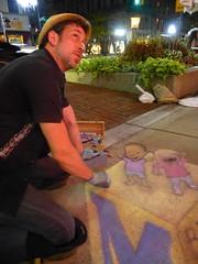 David Zinn, artist renewing his work after the rain (Tatiana12) Tags: art chalk artist drawing michigan annarbor sidewalk mott 2013 mottchildrenshospital davidzinn blockoutcancer