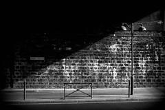 Diagonale (migliosa) Tags: street light shadow bw paris france strada ombra tunnel francia lampioni luce biancoenero parigi marciapiede seebw