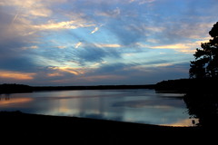 That's why they call it the Blues (Sam0hsong) Tags: sunset reflections painting day northcarolina lakecrabtree partlycloudy researchtriangleparknc pwpartlycloudy