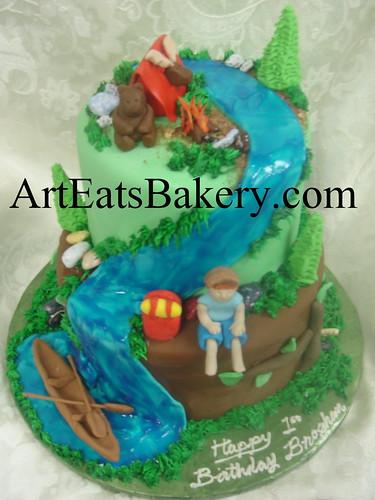 Enjoyable Boys 2 Tier Camping Birthday Cake Design With Edible Canoe Funny Birthday Cards Online Bapapcheapnameinfo